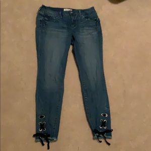 A light blue pair of jeans.
